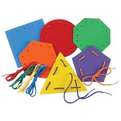 Busy Bag = Lacing Shapes ... Make with Hole-Punched Painted Cardboard or Notecards Colored with Color Pencils / Colorful Cardstock Paper