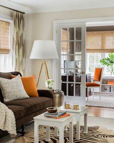 Elements of Style Blog  Brown & orange  #livingroom #interiordesign