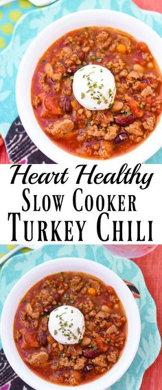 This Slow Cooker Turkey Chili is filled with good-for-you beans, sweet potato cubes and more. My family loves this chili and they don't even know it's good for their heart. It's just plain good!