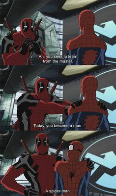 I understand DEADPOOL being a Master, but of Spider-Man? Will I think this is were Deadpool gets his crush on Spider-Man or I don't know. Deadpool X Spiderman, Deadpool Funny, Funny Marvel Memes, Marvel Jokes, Marvel Heroes, Marvel Avengers, Arte Dc Comics, Bar Mitzvah, Spideypool