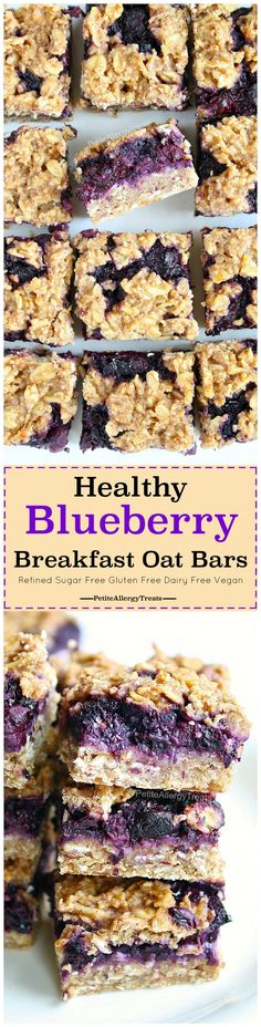 Healthy Breakfast Blueberry Oat Crumble Bars Recipe (gluten free dairy free Vegan) Easy refined sugar free flourless oat bars! Super easy dairy free quick breakfast. Food Allergy friendly.