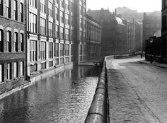 Canals, Rochdale Canal, Canal Street looking towards Princess Street, Manchester, 1960 Manchester England, Salford, Rochdale, Canal Boat, Street Look, Derbyshire, Lake District, British Isles, Great Britain