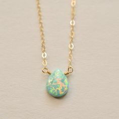 Simulated seafoam opal solitaire necklace 14kt by KahiliCreations