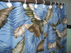 Tropical Hawaiian Barkcloth Fabric SHOWER CURTAIN ~Banana Leaves Slate