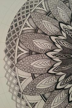 Judy's Zentangle Creations: Half Mandala Feast. looks very art deco to me