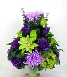 Father's  Day Cemetery Vase Flower Arrangement Featuring Purple Roses and Spider Mums by Crazyboutdeco on Etsy