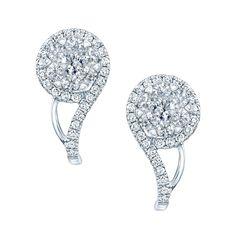 14k White Gold 3/4ct TDW Diamond Swirl Earrings