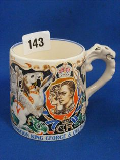 A Burleigh ware commemorative mug for the 1937 Coronation of King George VI and Queen Elizabeth Royal Tea Parties, Antique Auctions, King George, Catalogue, Queen Elizabeth, Cup And Saucer, Tea Time, Tea Party, Tea Cups