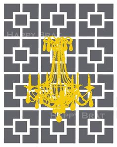 Gold chandelier silhouette on a grey Nixon print background makes this a perfect modern print.