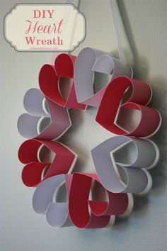 Simple and easy tutorial on how to make your own paper heart wreath.