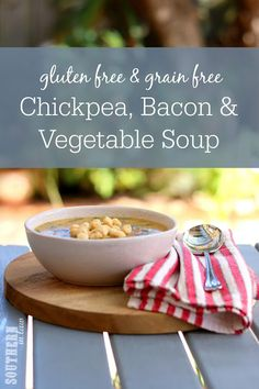 Warm, comforting and full of nutrients, this Healthy Chickpea Bacon and Vegetable Soup Recipe will become a family favorite! Gluten free, grain free, dairy free, low fat and so delicious! Make it using whatever vegetables you have in the fridge. A perfect meal prep recipe that is kid friendly and an awesome freezer meal.