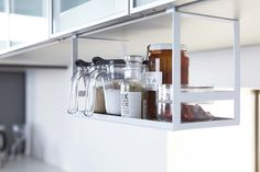Amazon.com: YAMAZAKI home Tower Under Shelf Seasoning Rack White: Home & Kitchen
