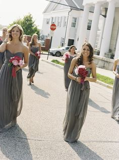 bridesmaids dresses. Love the grey