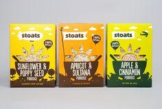 Packaging for Stoats porridge range designed by Robot Food. #Packaging #Branding #Design