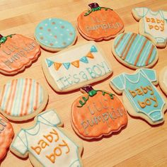 Blue and orange themed baby shower cookies or for October babies.