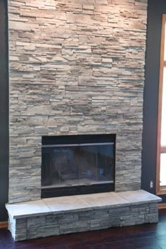 Excellent Totally Free Fireplace Remodel stone Thoughts Terrific Photos Fireplace Remodel grey Strategies Stacked stone fireplace ideas for your home 30 Stone Fireplace Pictures, Grey Stone Fireplace, Stone Fireplace Surround, Stacked Stone Fireplaces, Fireplace Update, Home Fireplace, Fireplace Remodel, Fireplace Design, Fireplace Mantels