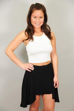 BOTTOMS > Skirts > Black Uneven Hem Swing Skirt