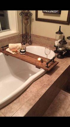 holz Stained oak tray for the garden tub. # oak tray # garden tub What Is Landscape Archite Tub Tray, Diy Bathroom, Bathroom Decor, Farmhouse Garden, Master Decor, Bathroom Makeover, Bathtub Decor, Garden Tub, Bathroom