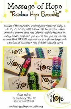 """Something GOOD to do with all of those bracelets! Rainbow """"Hope"""" bracelets - Message of Hope Service Projects For Kids, Community Service Projects, Service Ideas, Junior Girl Scout Badges, Apple Festival, American Heritage Girls, Mission Projects, Service Learning, Message Of Hope"""