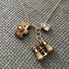 Max & Zoe camera and binocular necklace Super cute matte gold necklace with jewel charm, camera charm, and binocular charm. In excellent condition. Only worn twice. Jewelry Necklaces