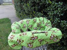 Monkeys on green baby shopping cart cover/ by littlestitches59