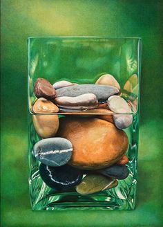 "Deborah Friedman (MA) - ""Counterpoint in Green"" - 21x 15 inches color pencil"
