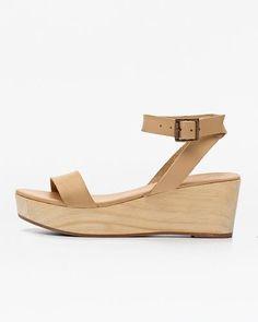 Sarita Wooden Wedge Sandal Beige 5 for 5