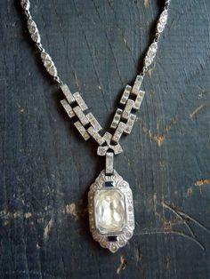 art deco glass necklace