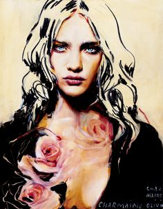 "Chamaine Olivias ""Charcoal and Roses"" from her Fall 2013 collection. Love her oil/mixed media portraits. Amazing"