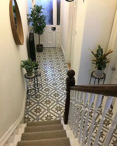 Montpelier Square Wall & Floor Tiles – Tons of Tiles – hallway Hall Tiles, Tiled Hallway, Entry Hallway, 1930s Hallway, Entry Way Tile, Cottage Hallway, Tile Entryway, Tiled Staircase, Entryway Flooring