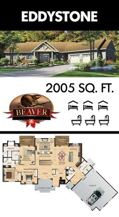 The uniquely shaped, 2005 sq. ft. Eddystone features a massive open concept area and a central cathedral ceiling in the living room. #BeaverHomesAndCottages