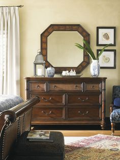 Octagonal Carved Rattan Landara Cape Coral Mirror from Tommy Bahama Home