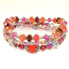 Vibrant Magenta Stackable Stretch Bracelets por SylviaSwaseyDesigns