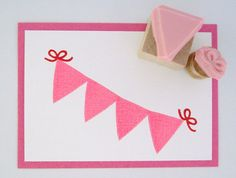 Mini Pennant Bunting with Bow Hand Carved Rubber Stamp Set