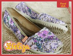 Alpargata Floral Lila, tallas 34 a 40. Contacto 301 6347566 - www.tiendafeliza.com