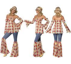 Disfraz Vintage Hippy de los 70s para Mujer talla L 44/46. Disfraz único y de alta calidad Hippie o Disco de los años 70 que se compone de Top estampado, mangas de campana, pantalones vaqueros con campana estampada y Cinta para el pelo. Completa tu disfraz con artículos de nuestra sección de accesorios como pelucas, gafas, colgantes, anillos etc..