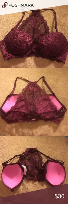 Brand New VS Pink Bralette I'm reposhing this beautiful bra, I bought it just to find out it's the wrong size when I went to wear it. It was listed under my size, I didn't notice it till I hand wash it and went to wear it :(. It snaps in the front. You can use it with a dress that has an opening in the back to dress it up sexy. It's Burgundy lace and pink inside. Still has lil plastic tag from price PINK Victoria's Secret Intimates & Sleepwear Bras