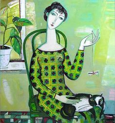 Tatiana Gorshunova Femme avec un chat 2007