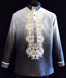 Monochromatic Black Jusilyn Barong Tagalog - Barongs R us Mens Hottest Fashion, Mens Fashion, Barong Tagalog, Filipiniana Dress, Philippines Fashion, Line Shopping, Formal Looks, Lavender, Suits