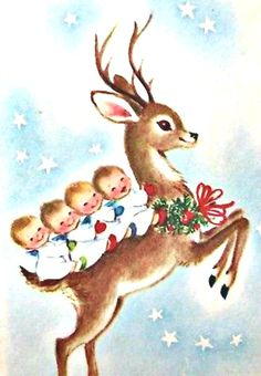 Vintage Gibson Christmas Card Reindeer Baby Babies Child Sky Star Holly Wreath Vintage Gibson C Christmas Scenes, Christmas Deer, Retro Christmas, Diy Christmas Ornaments, Christmas Angels, Christmas Greetings, Xmas, Vintage Christmas Images, Vintage Holiday