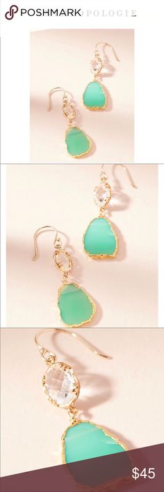 Anthropologie Reflection Drop Earrings Anthropologie Reflection Drop Earrings NWT green and gold Anthropologie Jewelry Earrings