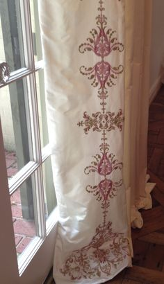 Roslyn embroidery curtain fabric off white cotton with intricate creative tonic courtnay tartt elias custom hand embroidered drapery ccuart Gallery