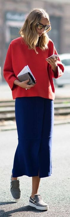 Red And Navy Outfit - stylish and easy #style #casual