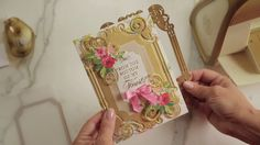 Learn to make an embellished card using Anna Griffin's Ornamental Frame Dies. #AnnaGriffin