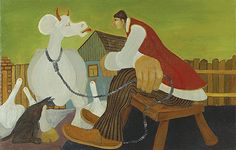 THE DIALOGUE Serbian Naive Artist Martin Jonas (b1924 Kovacica, Serbia)