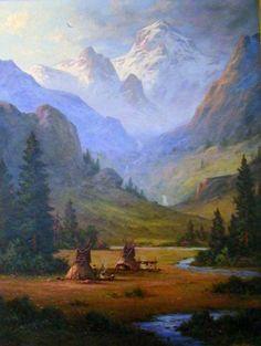 Indios en las Montañas Rocosas de Colorado, 2008 40x30 por Heinie Hartwig