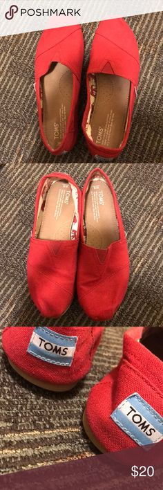 Red Toms Red, used Toms Shoes Flats & Loafers