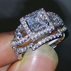 Victoria Wieck Dazzling Topaz Simulated Diamond 925 Silver Cross engagement Wedding Band Ring Set Sz 5-10 Gift free shipping | Buy Diamond Rings OnlineBuy Diamond Rings Online