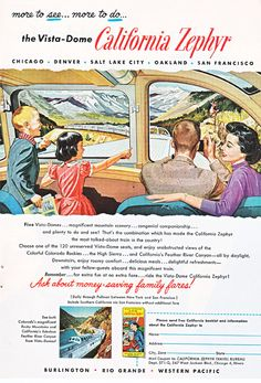 Items similar to vintage ad for a train, the California Zephyr, 1957 National Geographic advertisement on Etsy Bus Travel, Train Travel, Time Travel, Travel Usa, Vintage Advertisements, Vintage Ads, Vintage Trains, Advertising Ads, Train Posters