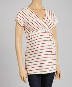 Loving this Oh! Mamma Ivory & Red Stripe Surplice Maternity Tee on #zulily! #zulilyfinds